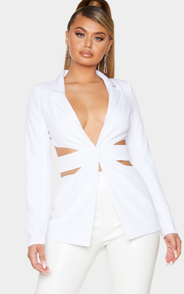 White Structured Cut Out Blazer 1
