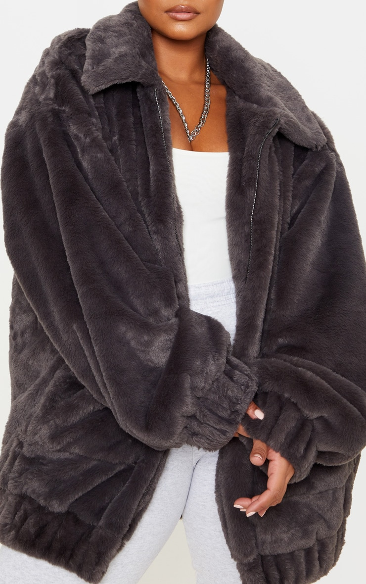 Plus Grey Faux Fur Pocket Front Coat 5