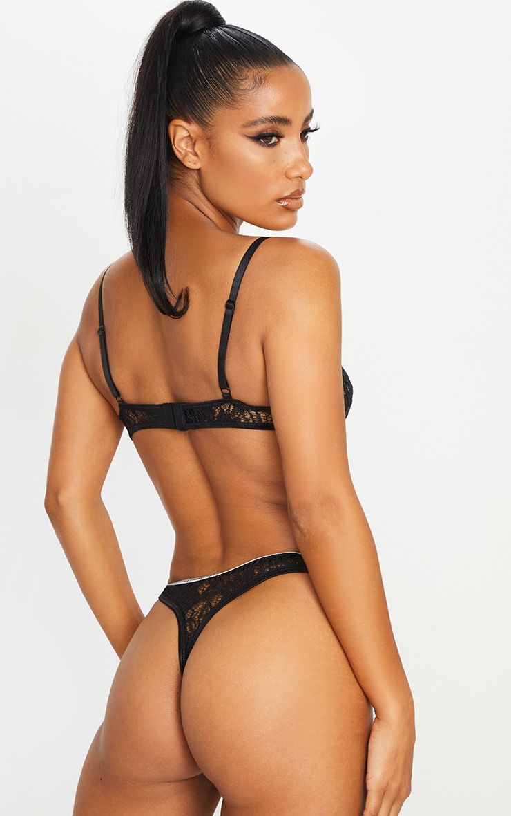 PRETTYLITTLETHING Black Floral Lace Thong 2