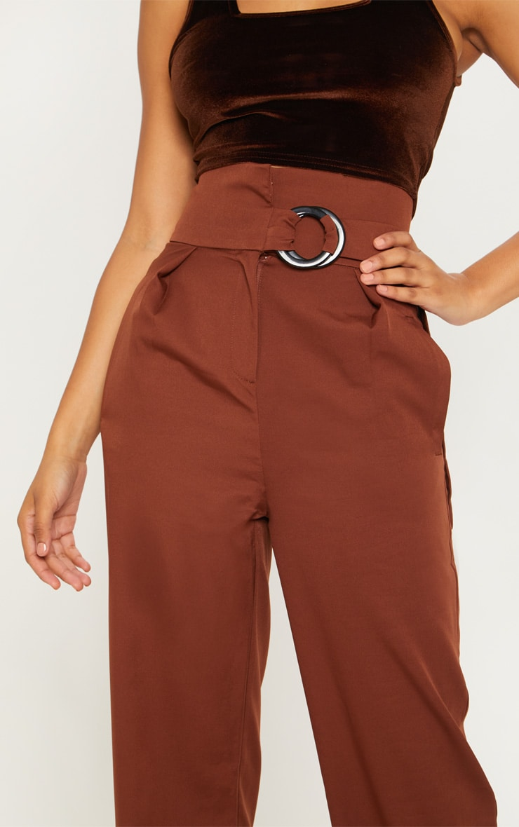 Tall Chocolate Brown Belt Ring Detail Wide Leg Pants 5