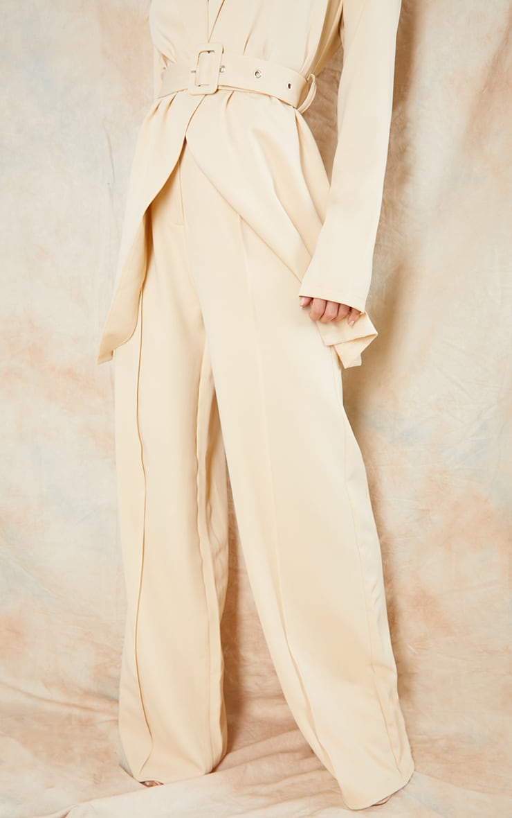 Stone Woven Seam Front Tailored Wide Leg Pants 2