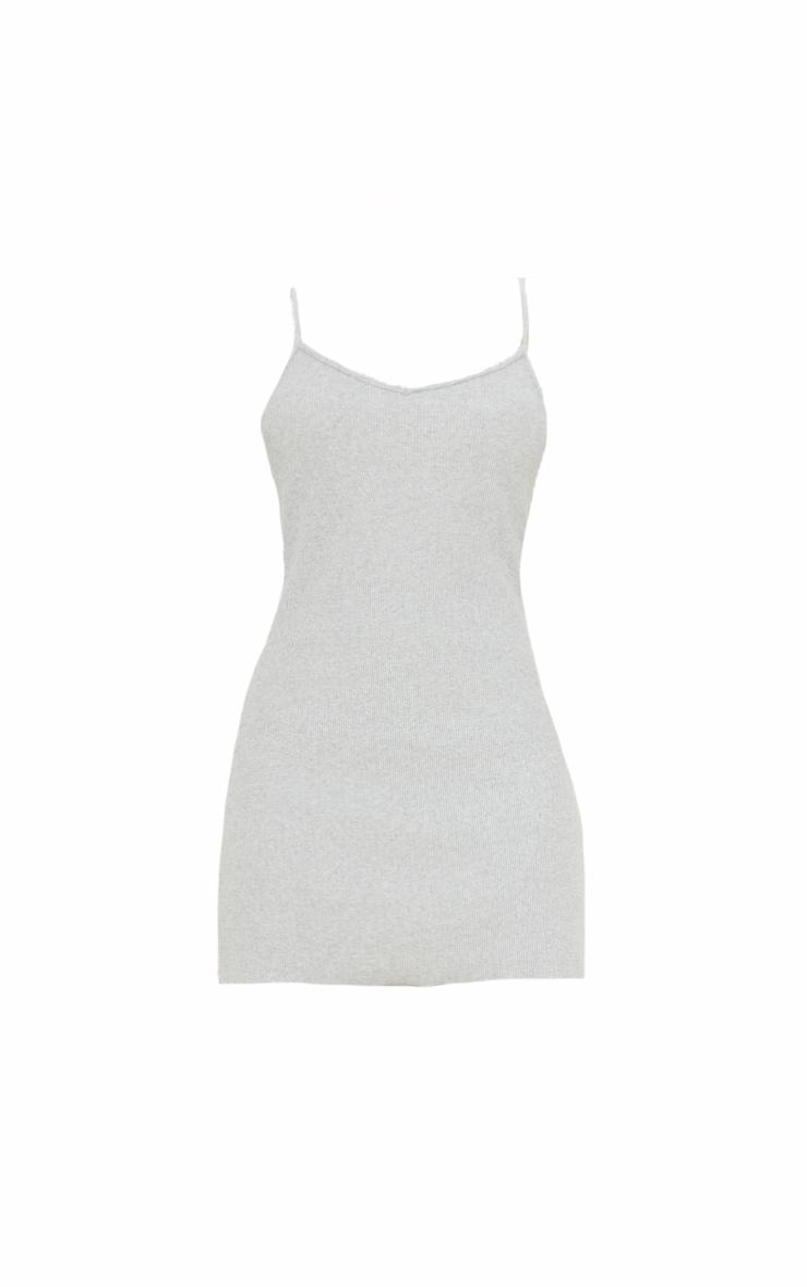 Grey Rib Frill Edge Strappy Mini Bodycon Dress 5