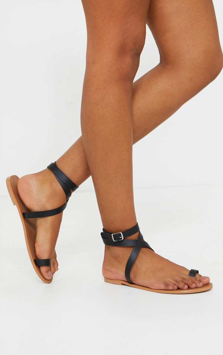 Black Toe Loop Barely There Ankle Strap Sandal 2