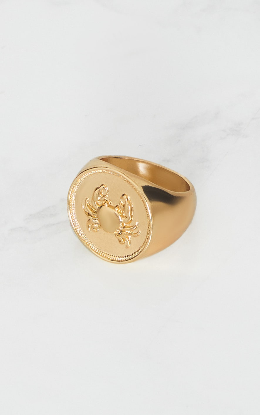 Gold Zodiac Cancer Sovereign Ring 2