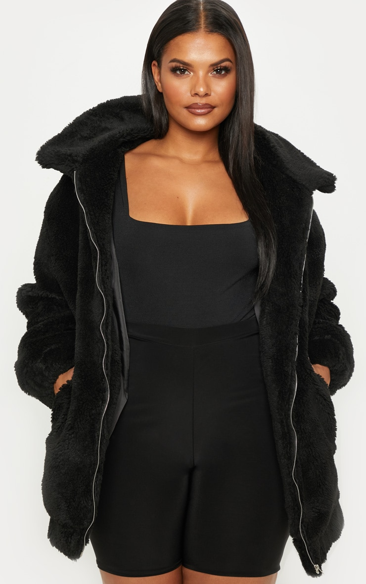 Plus Black Teddy Bomber Coat 4