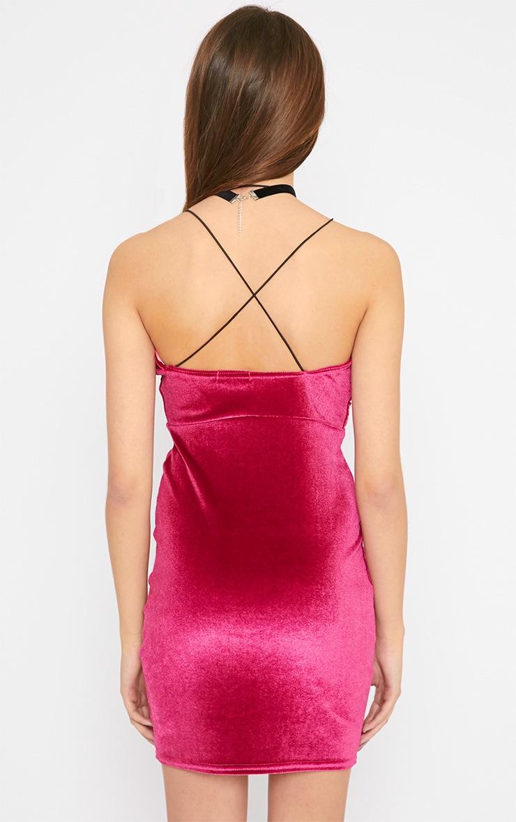 Gisele Pink Velvet Plunge Dress 2