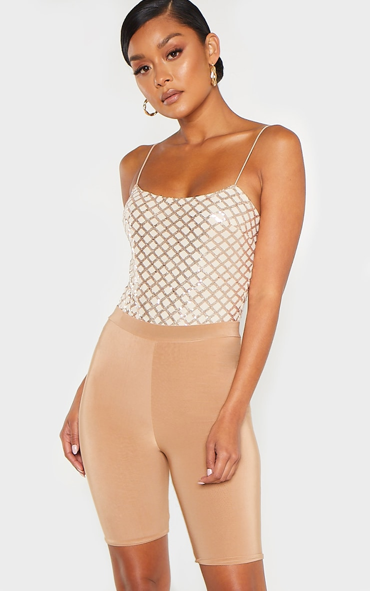 Rose Gold Strappy Sequin Straight Neck Bodysuit 1