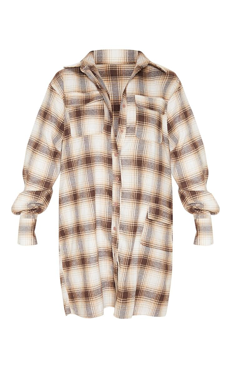 Beige Check Pocket Detail Long Sleeve Shirt Dress 1