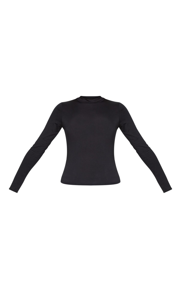 Black Jersey High Neck Long Sleeve Top 3