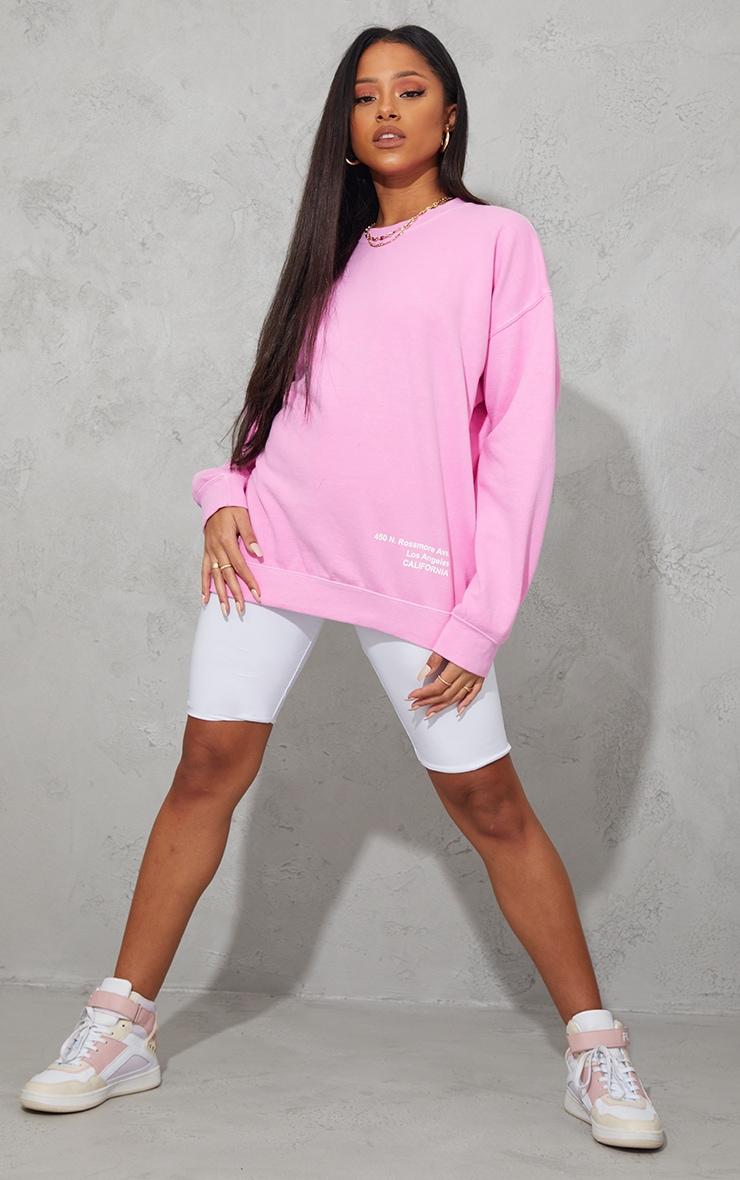 Pink Los Angeles Small Print Slogan Washed Sweatshirt 3