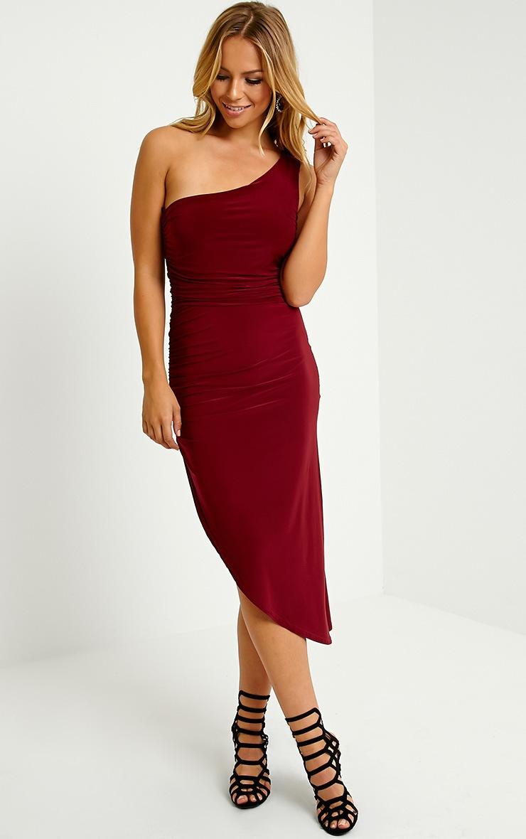 Lourdes Oxblood One Shoulder Side Ruched Dress 4