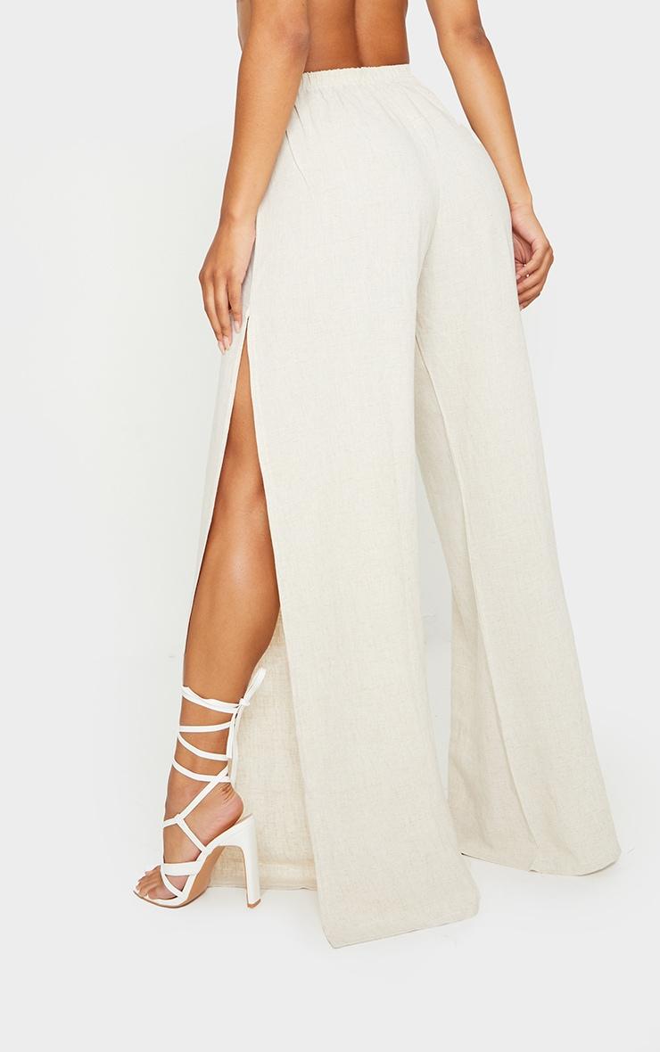 Pantalon évasé effet lin nude à détail fendu 3