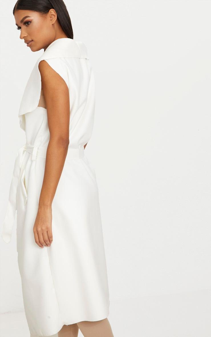 White Sleeveless Waterfall Coat Belted Coat 2