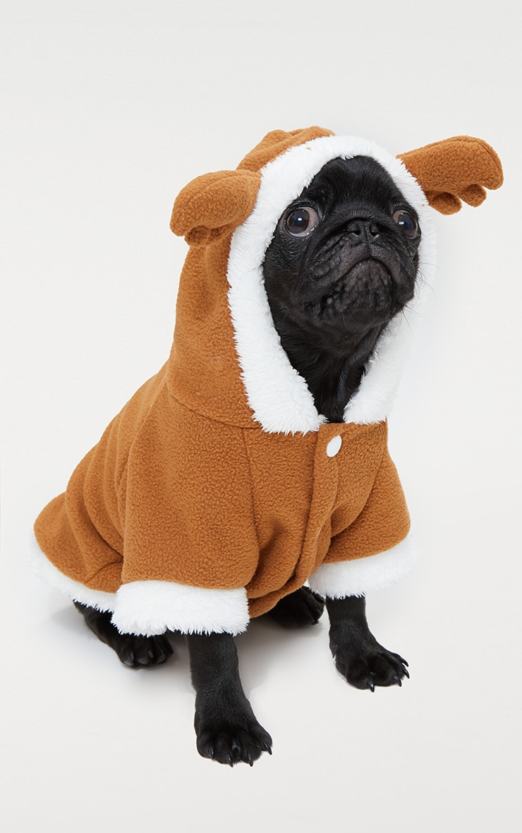 Brown Fluffy Reindeer Doggy Costume 1