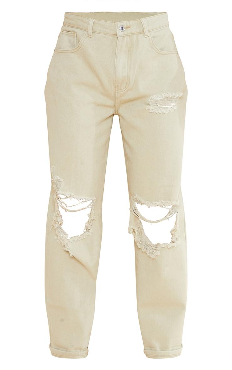 Stone Open Knee Ripped Turn Up Boyfriend Jeans 5
