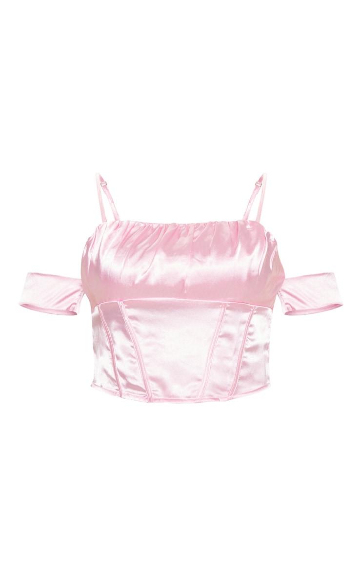 Pink Satin Ruched Bust Off the Shoulder Corset 3