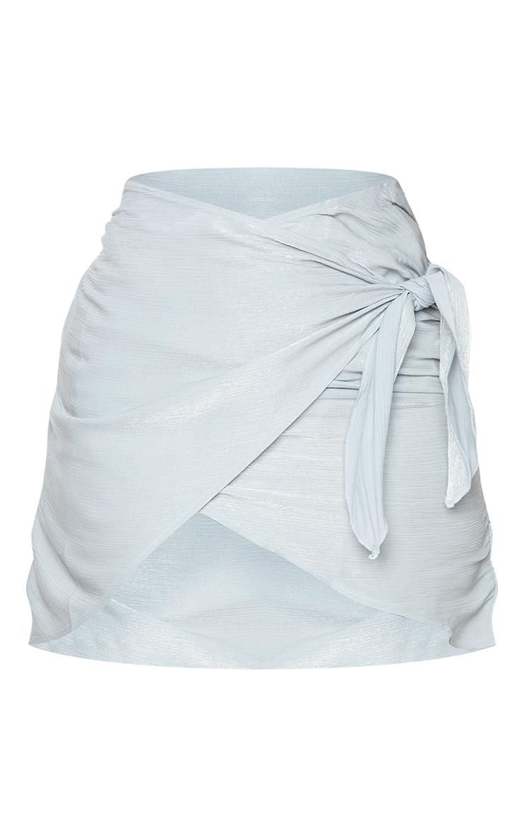 Grey Shimmer Wrap Over Woven Tie Waist Mini Skirt 6
