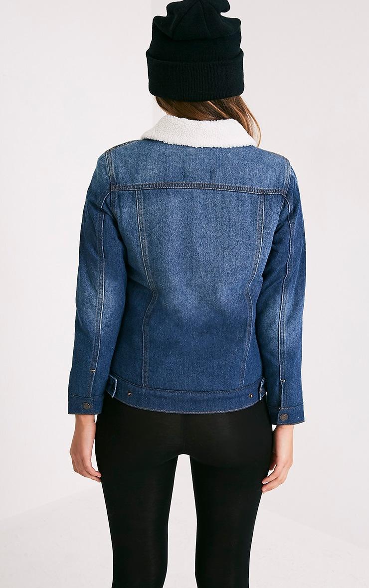 Daariela Veste en jean doublée peau lainée délavage moyen 2