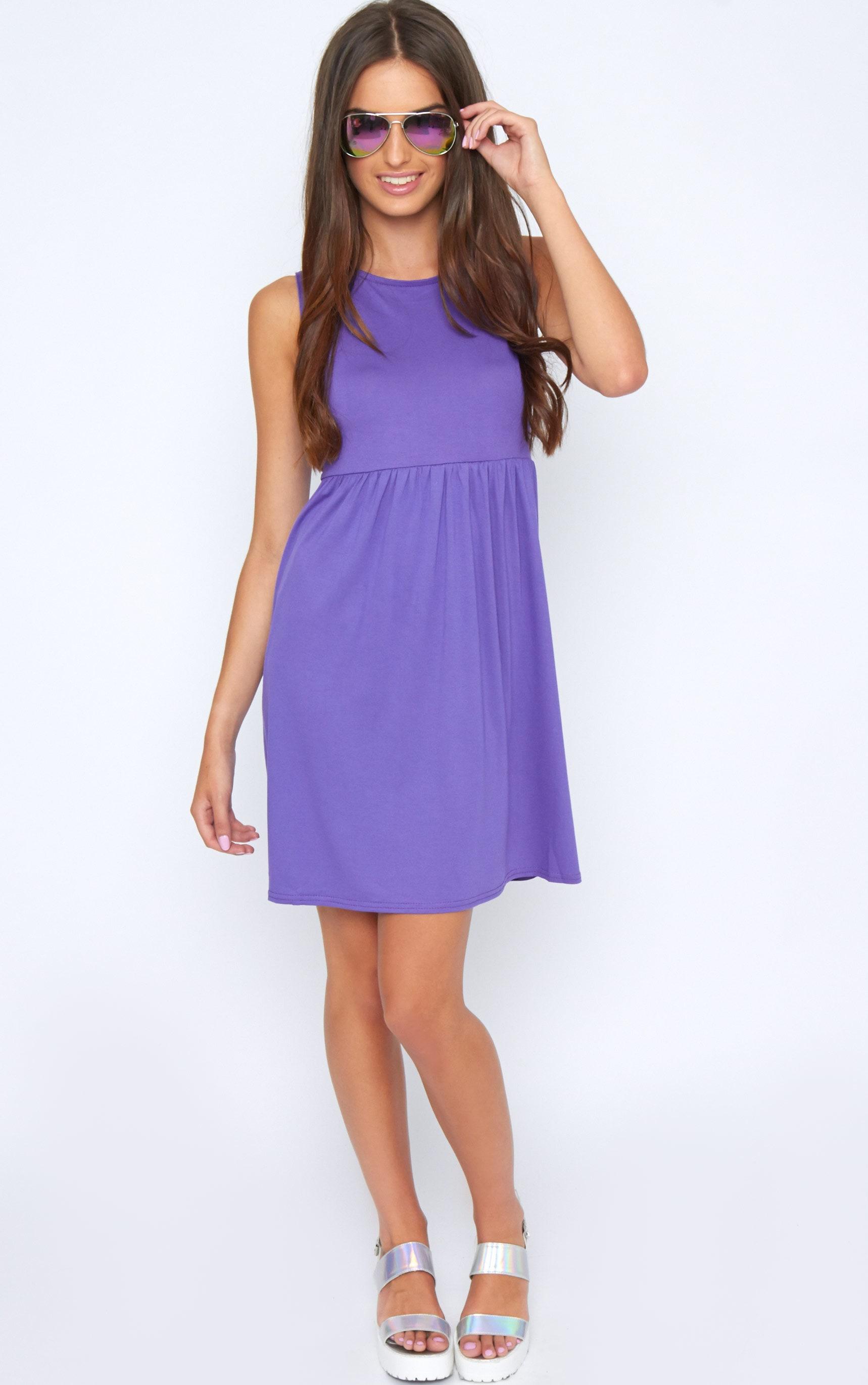 Kirsten Purple Sleeveless Smock Dress 3