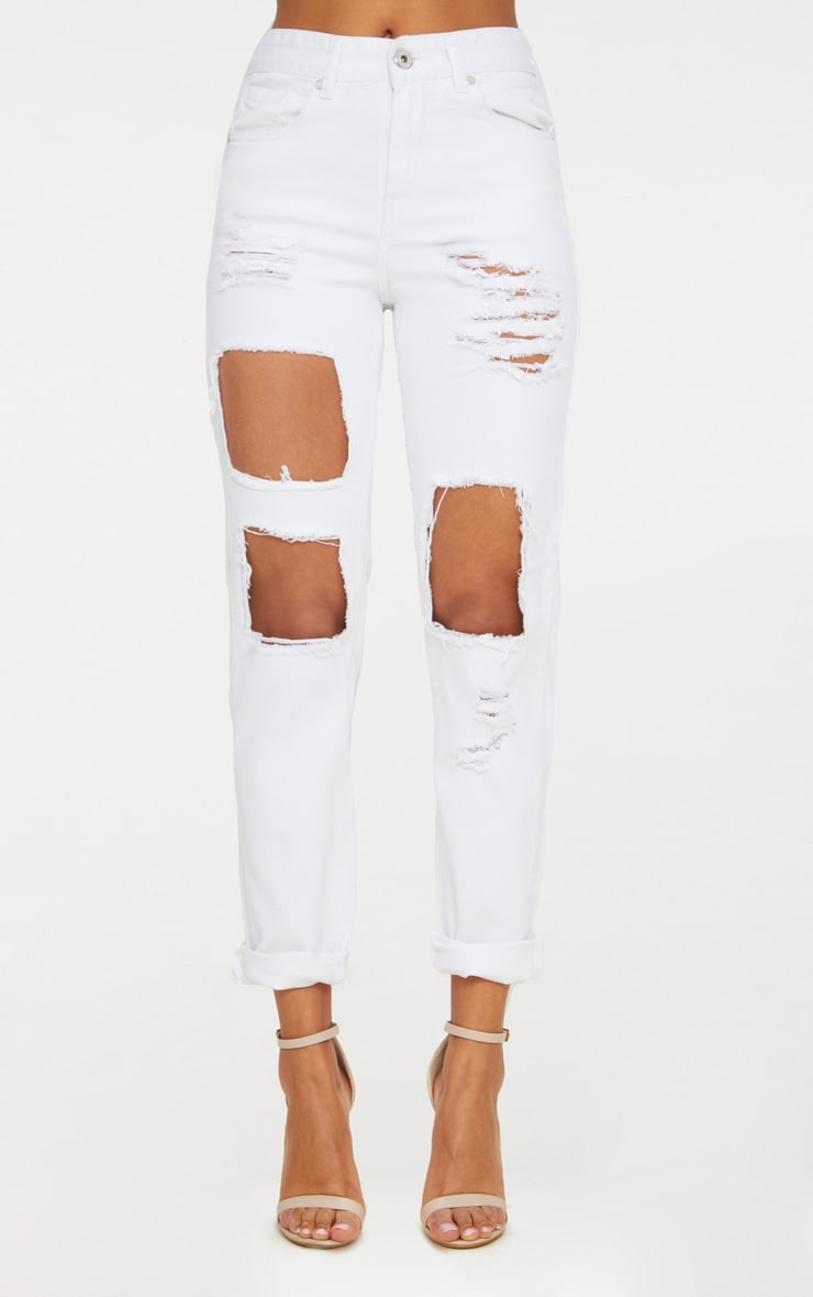 White Open Front Mom Jean 6