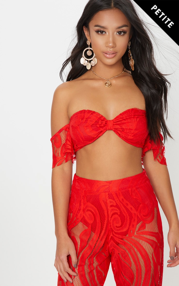 Petite Red Lace Bardot Crop Top