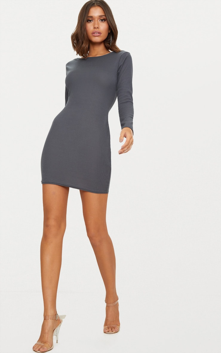 Basic Charcoal Grey Ribbed Long Sleeve Bodycon Dress 2