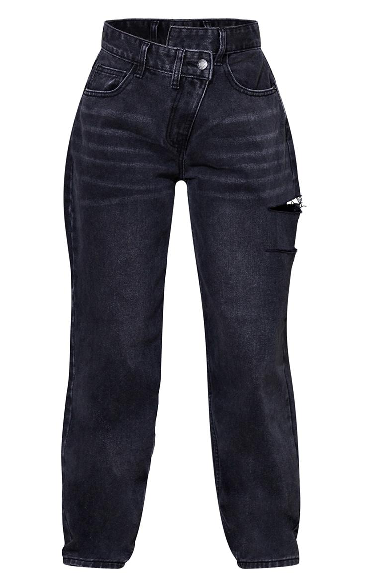 Petite Washed Black Baggy Low Rise Asymmetric Waistband Thigh Split Boyfriend Jeans 5