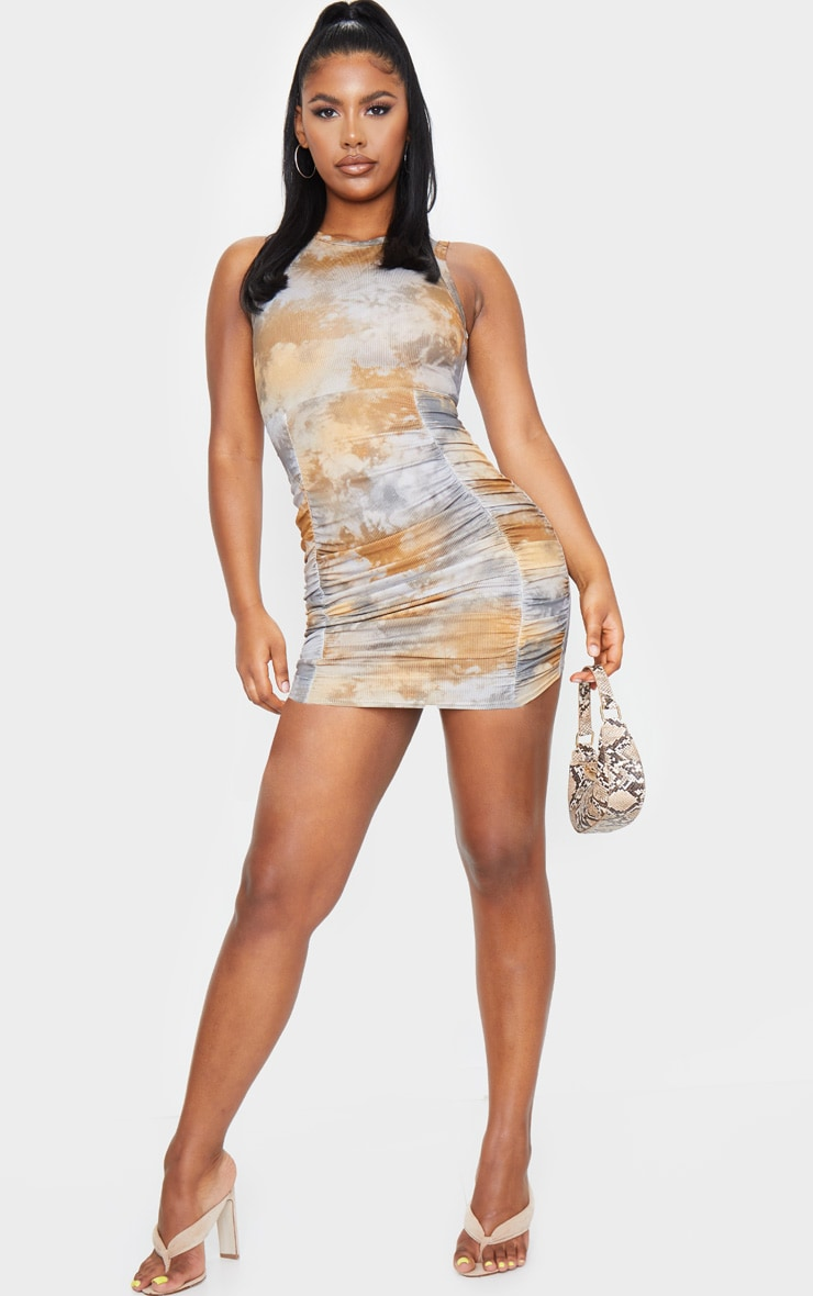Multi Ribbed Tie Dye Ruched Sleeveless Bodycon Dress 3