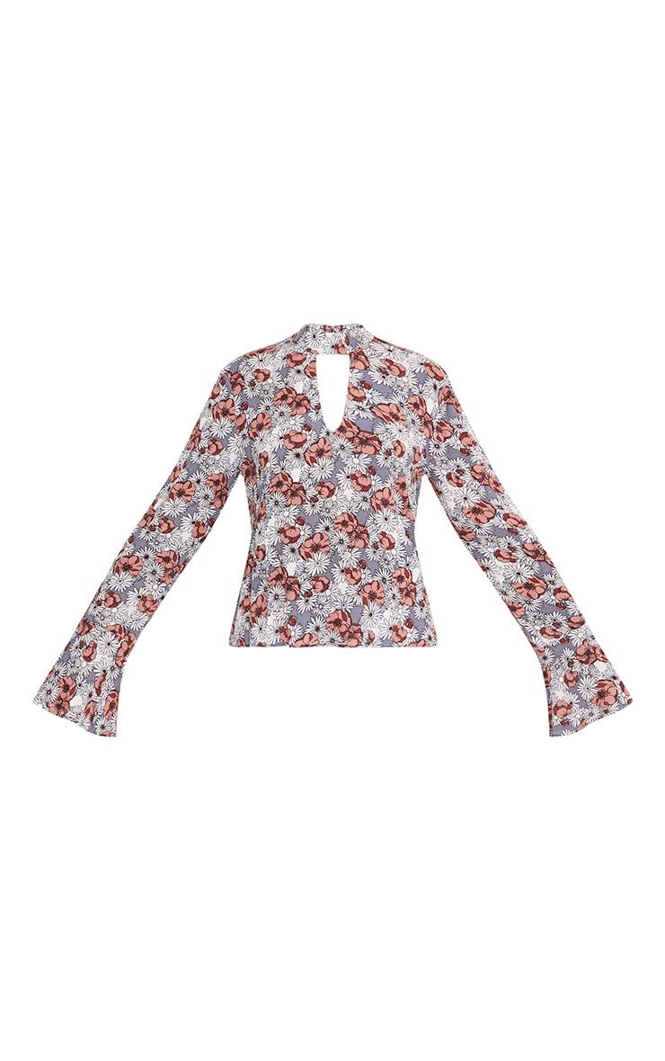Looise Grey Floral Print Cut Out Neck Blouse 3