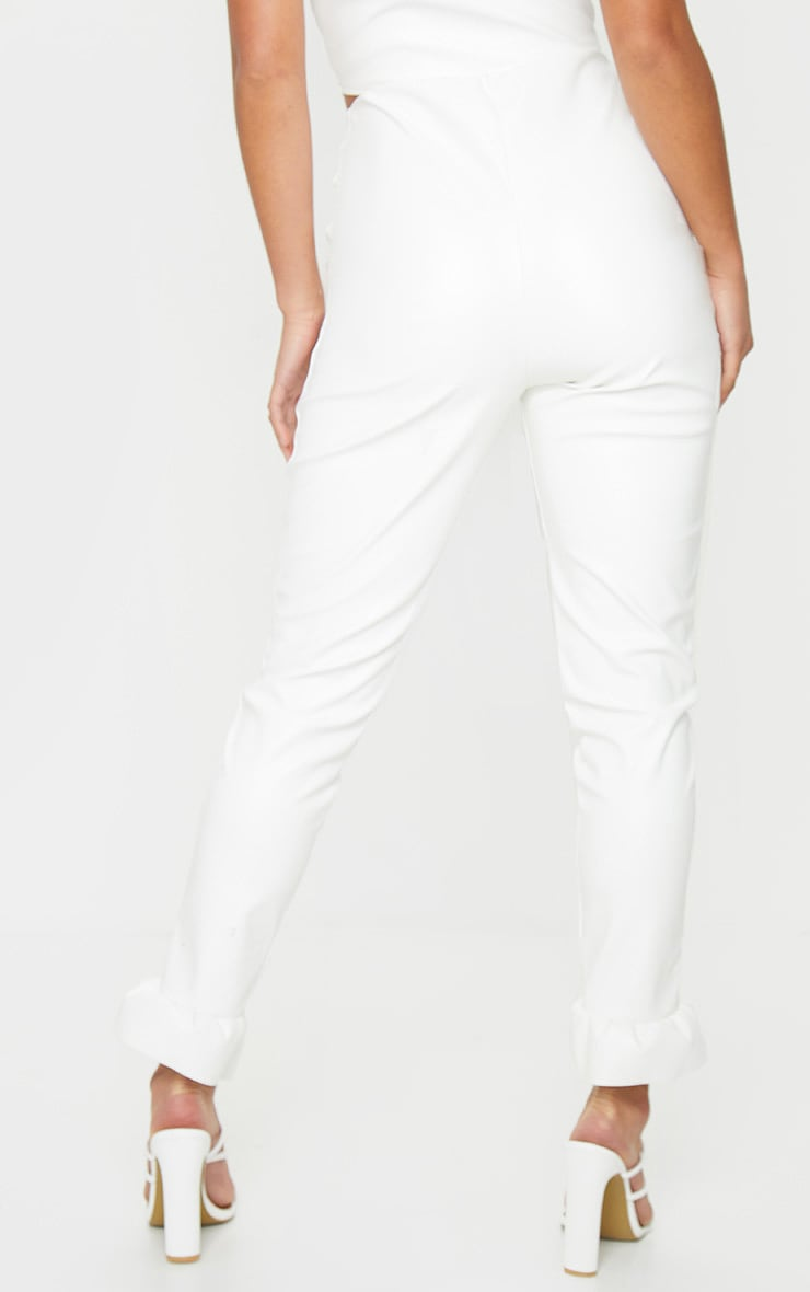 Petite Cream Frill Straight Leg PU Trousers 2