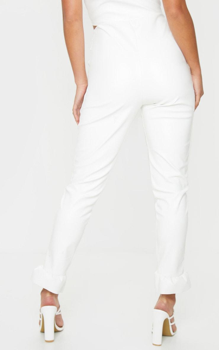 Petite Cream Frill Straight Leg PU Pants 2