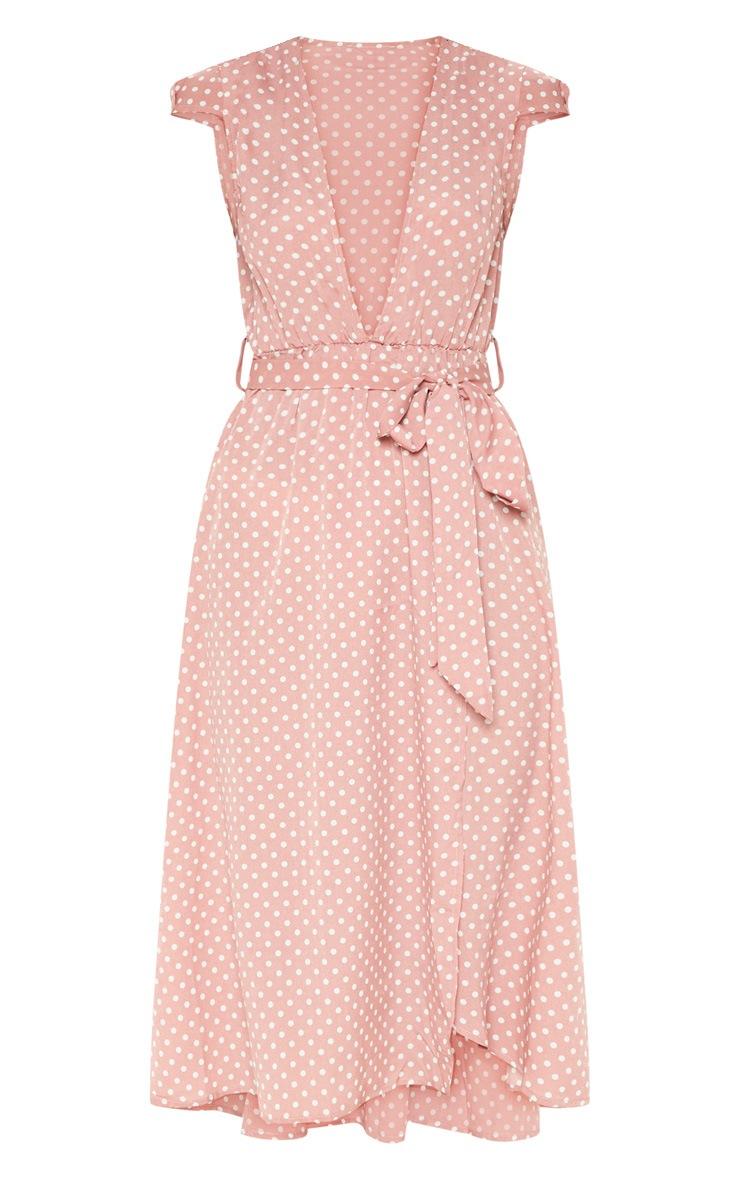 Pink Polka Dot Cap Sleeve Midi Skater Dress 3