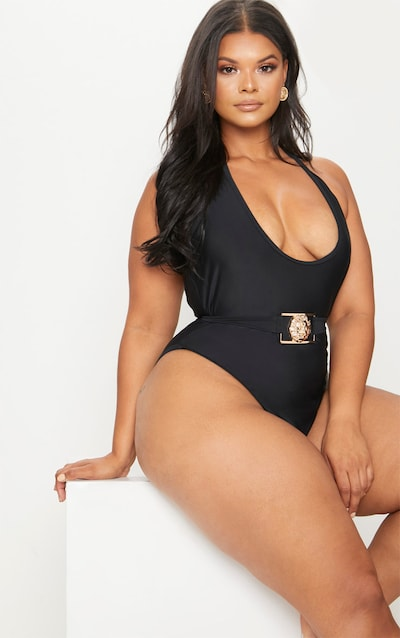 Plus Black Lion Belted Swimsuit
