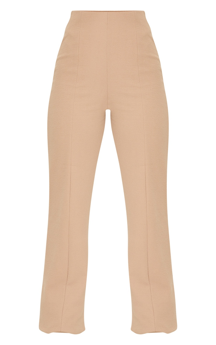 Camel Crepe Seam Front Wide Leg Trousers 5
