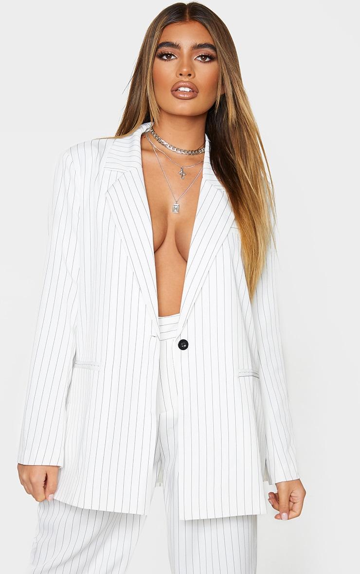 Cream Pinstripe Oversized Dad Blazer 1