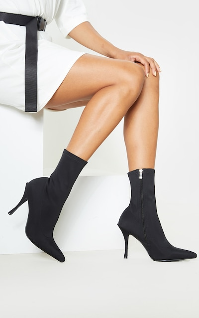 Black Mid Flared Heel Sock Boot