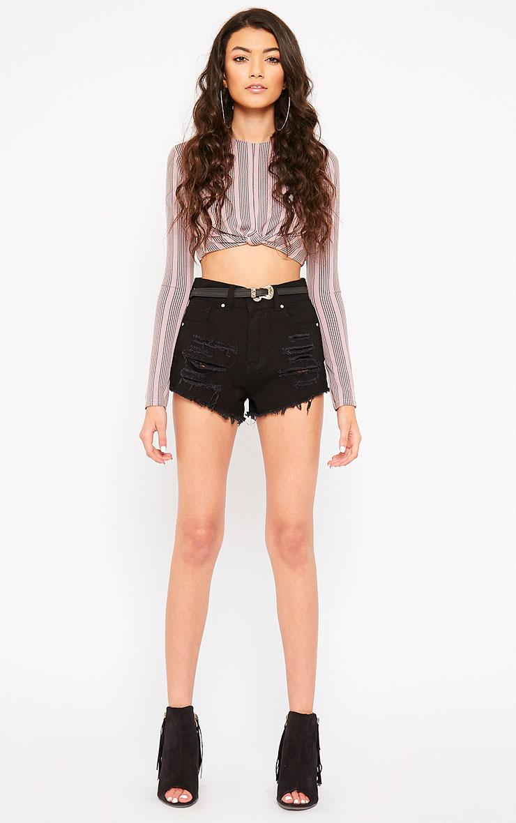 Sapphire Black Ripped Denim Shorts 6