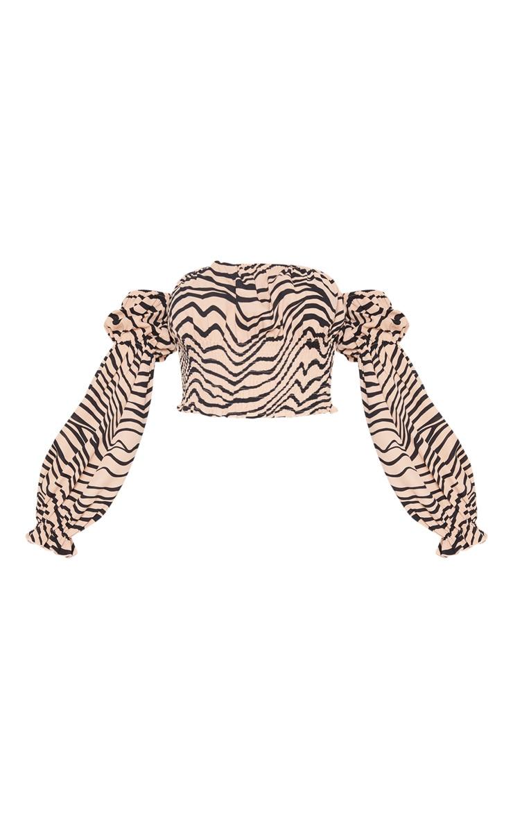 Tan Zebra Shirred Bardot Puff Sleeve Crop Top 3