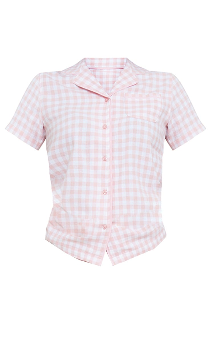 Pale Mix And Match Pink Button Up Short Sleeve Check PJ Shirt 5