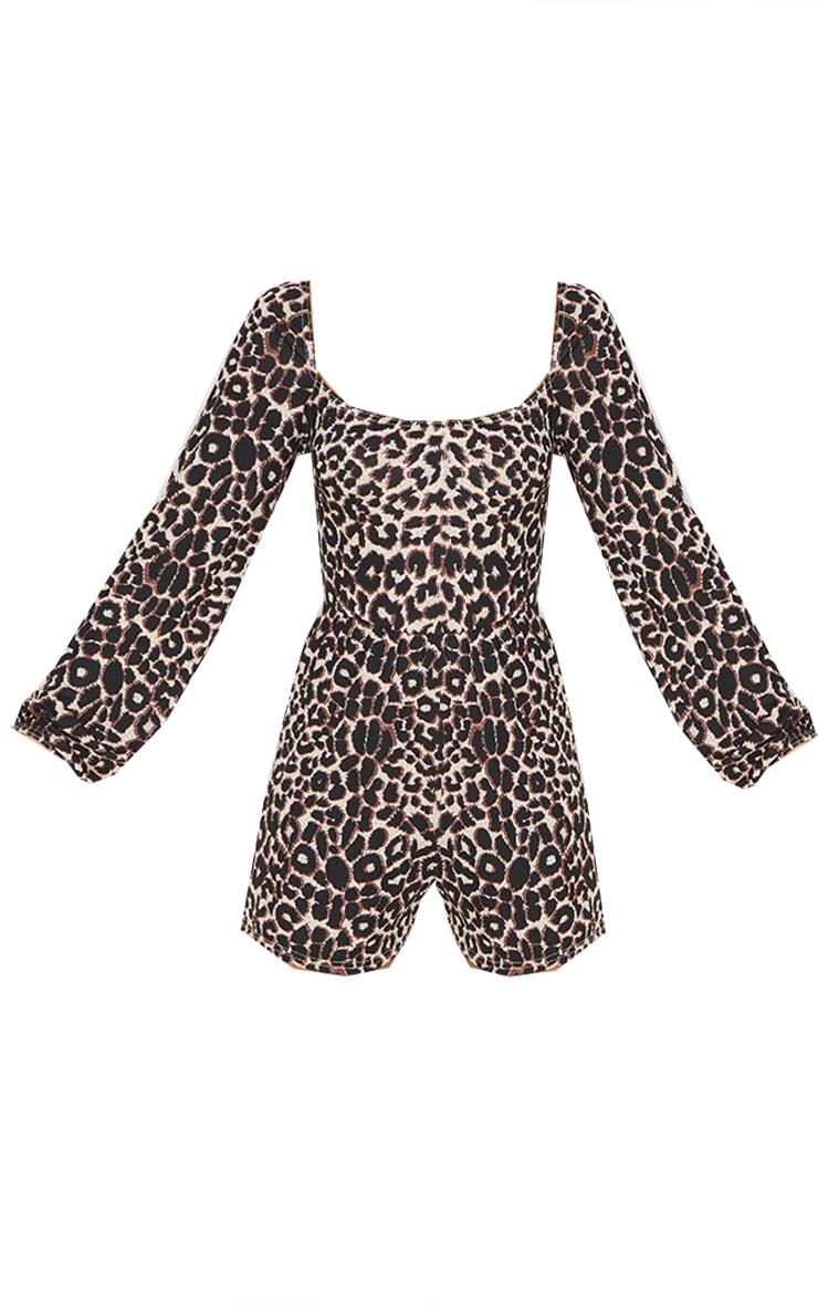 Tan Leopard Print Tie Back Long Sleeve Playsuit 5