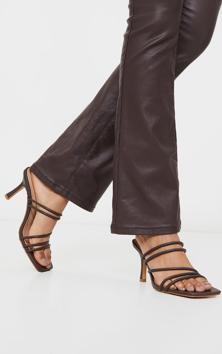 Chocolate PU Square Toe Strappy Low Heeled Mules 2
