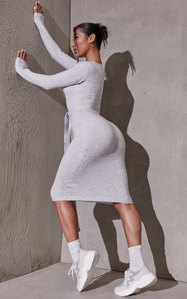 Light Grey Recycled Belted Square Neck Knitted Midi Dress 2