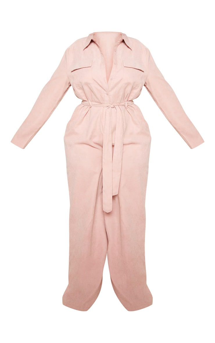 Plus Pink Faux Suede Button Front Wide Leg Jumpsuit 3
