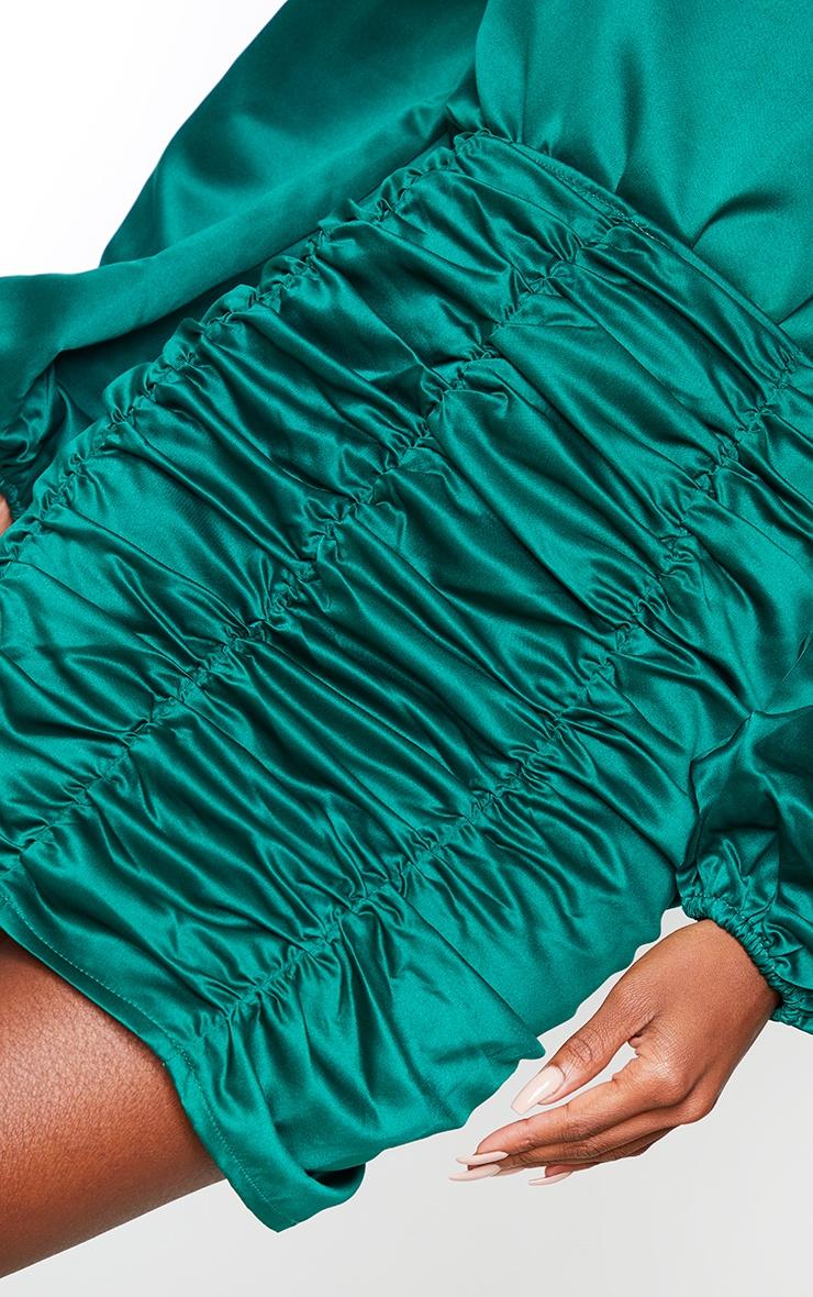 Emerald Green Ruched Panel Mini Skirt 5