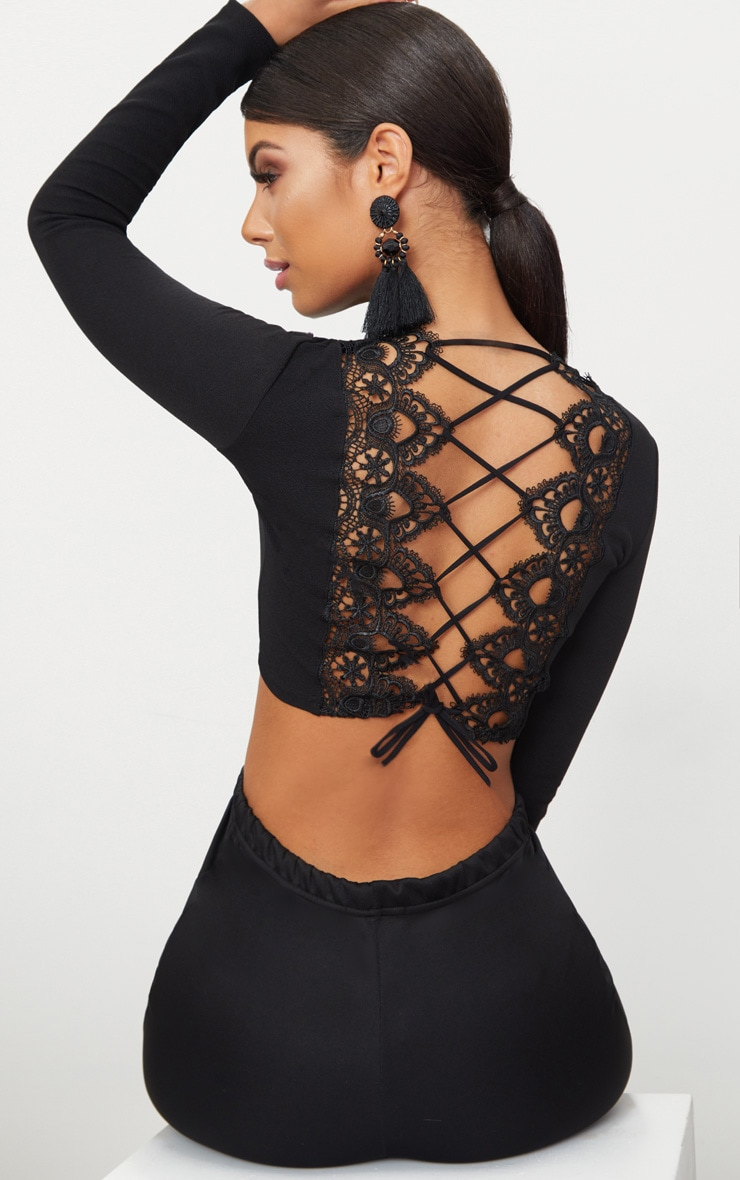 Black Lace Up Back Long Sleeve Crop Top  1