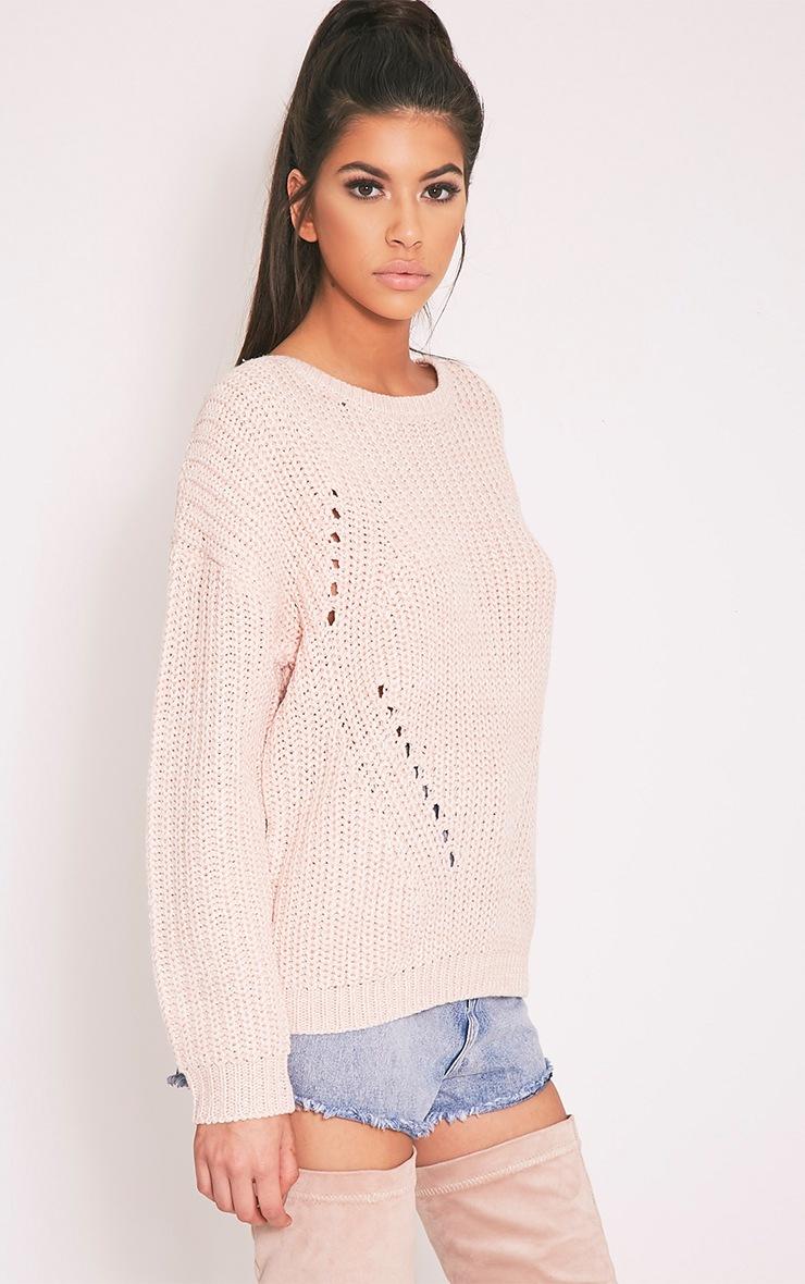 Pauline pull tricoté à encolure dégagée rose 4