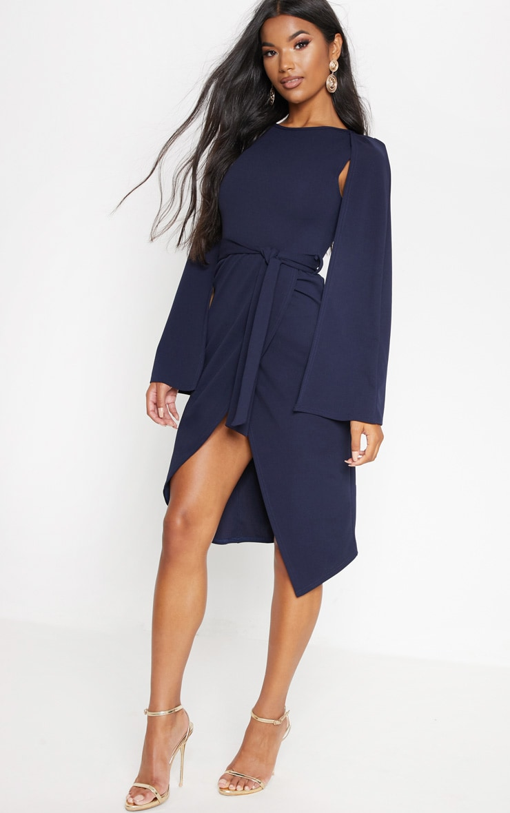 Navy Cape Style Wrap Midi Dress 1