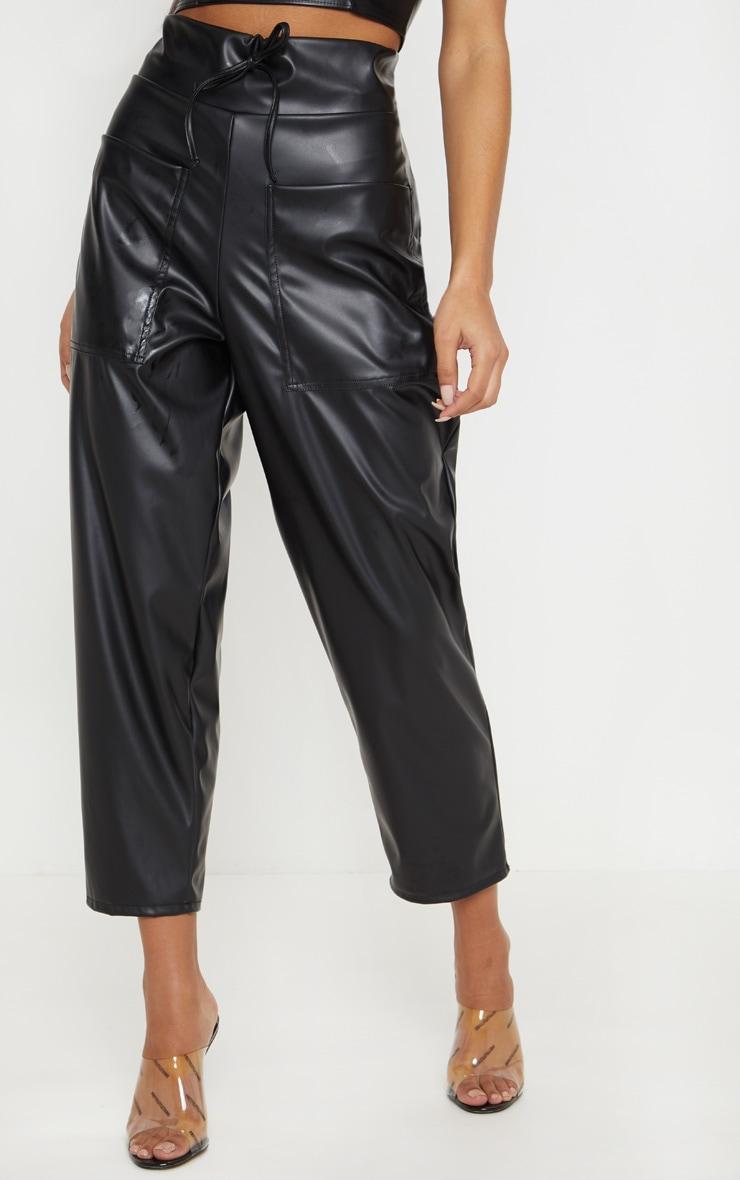 Black Pocket Detail Faux Leather Culotte 2