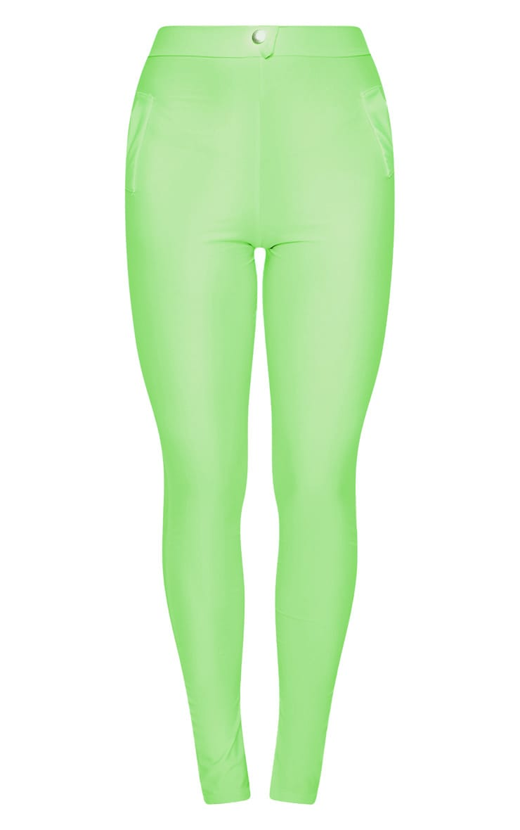 Neon Green Disco Split Hem Skinny Pants 3