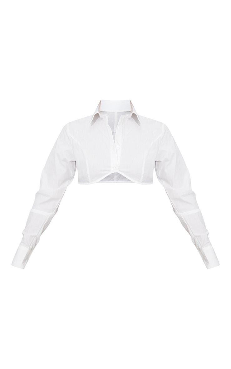 White Woven Underbust Detail Long Sleeve Crop Shirt 5